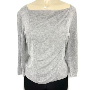 LAFAYETTE 148 New York Grey Square Neckline Blouse